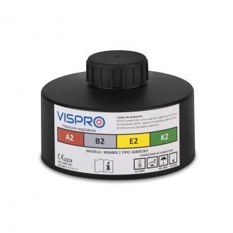 Filtro VISPRO 300A2B2E2K2 contra gases y vapores orgánicos, inorgánicos, ácidos y amoniaco.